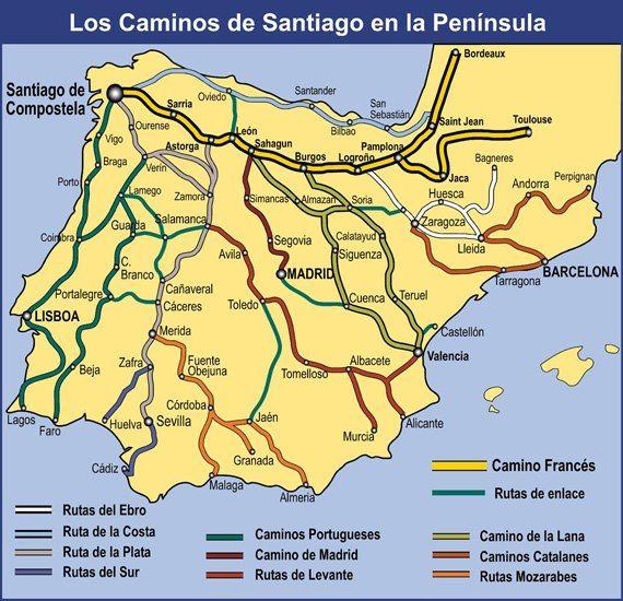 Los Caminos De Santiago En La Peninsula Chemin De Compostelle