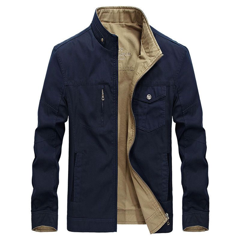 Reversible Double Sided Wearable Autumn Cotton Pockets Outdoor Jacket for  Men 31634a8fdd