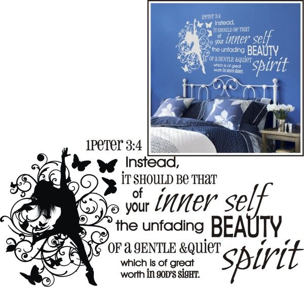 1 Peter Bible Verse Wall Decal Unfading Beauty 2   For my room,,,