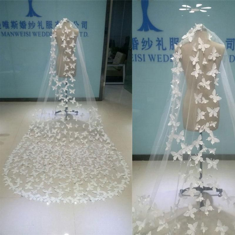 Best Selling Real Image Butterfly Bridal Veils White Sheer Tulle One ...