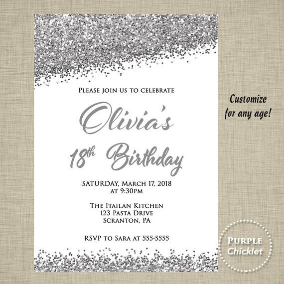 18th Birthday Invite Quinceanera Invitation Silver Sparkle Glitter Party Graduation Invitatio
