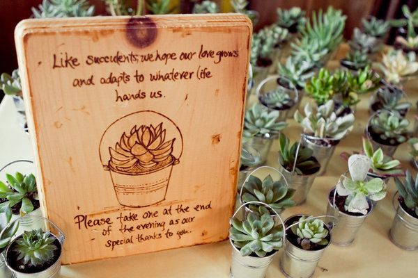 Succulent Wedding Favor || Style Me Pretty | Gallery & Inspiration | Picture - 336325