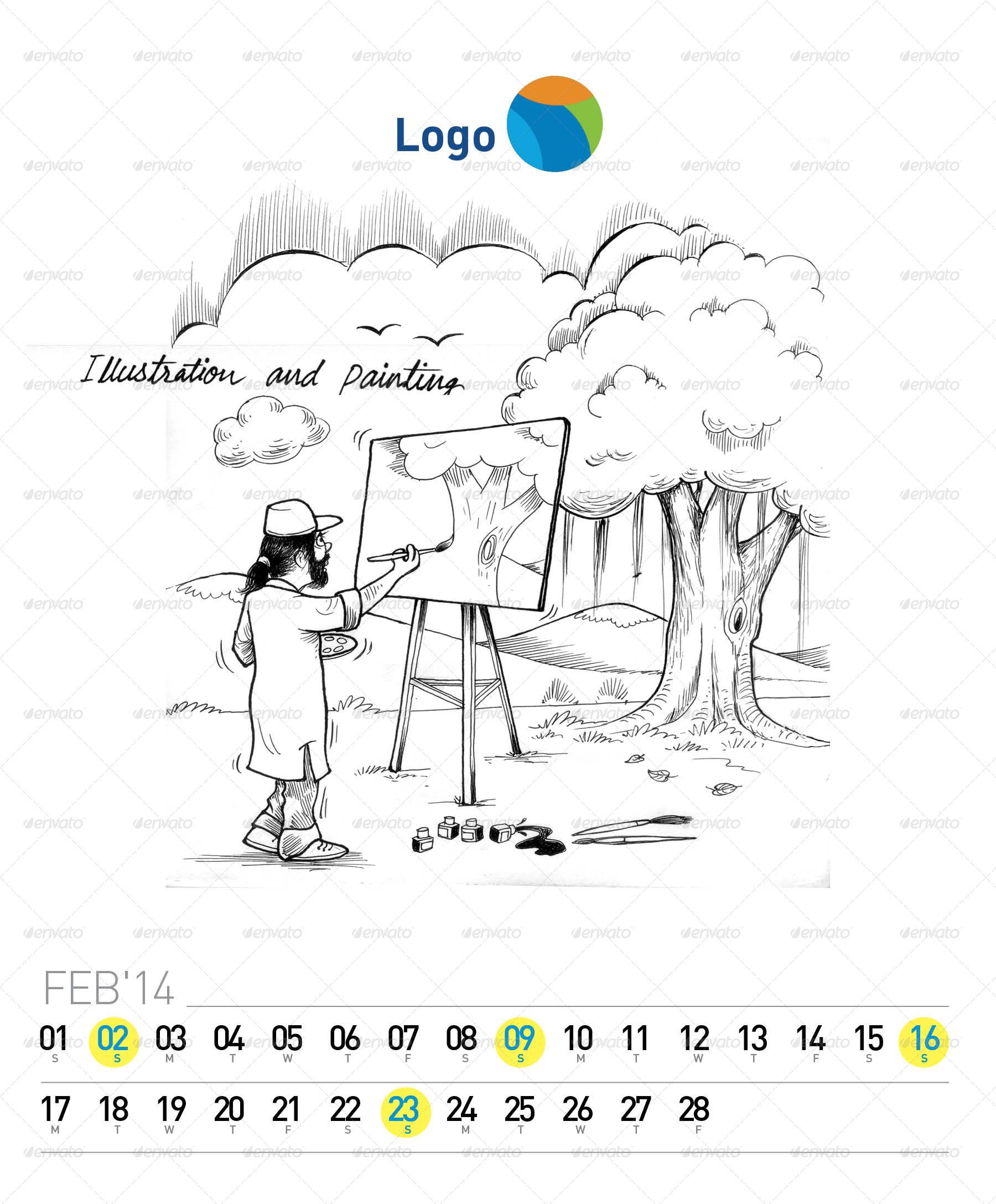 Creative 2014 Desk Calendar (with Illustration) #Ad #