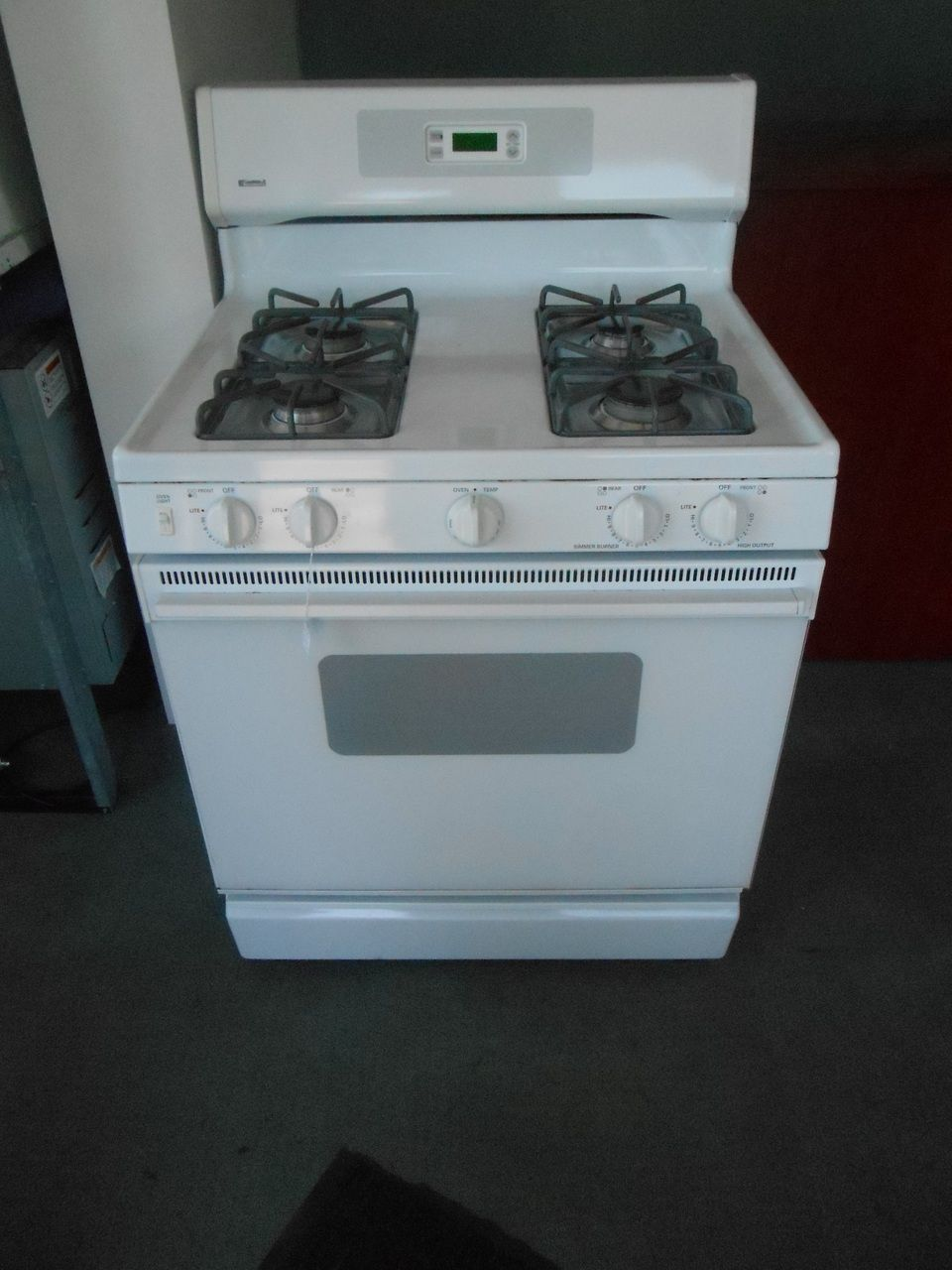appliance city kenmore 30 inch 4 burner gas range free standing broiler on bottom glass oven door with window white