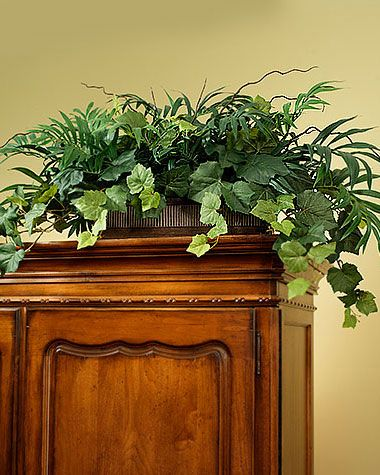 Silk Mixed Palm Ivy Armoire Topper In 2019 Wf Silk Plants