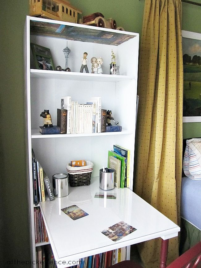 Desk Built Into Closet save on spaceturning a bookcase into a desk! here's how