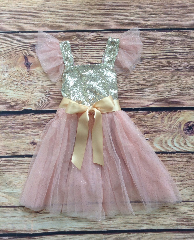 Blush pink girl dress  Blush Pink Gold Sequined Glitter Tulle Princess Girls Toddler Dress