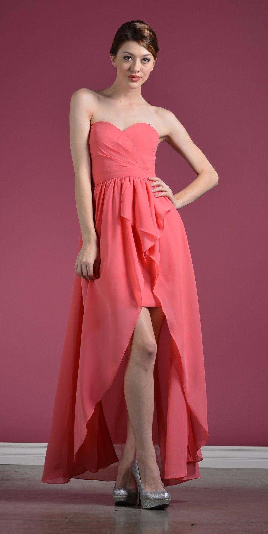 Strapless Chiffon Bridesmaid Dress Coral High Low Chiffon