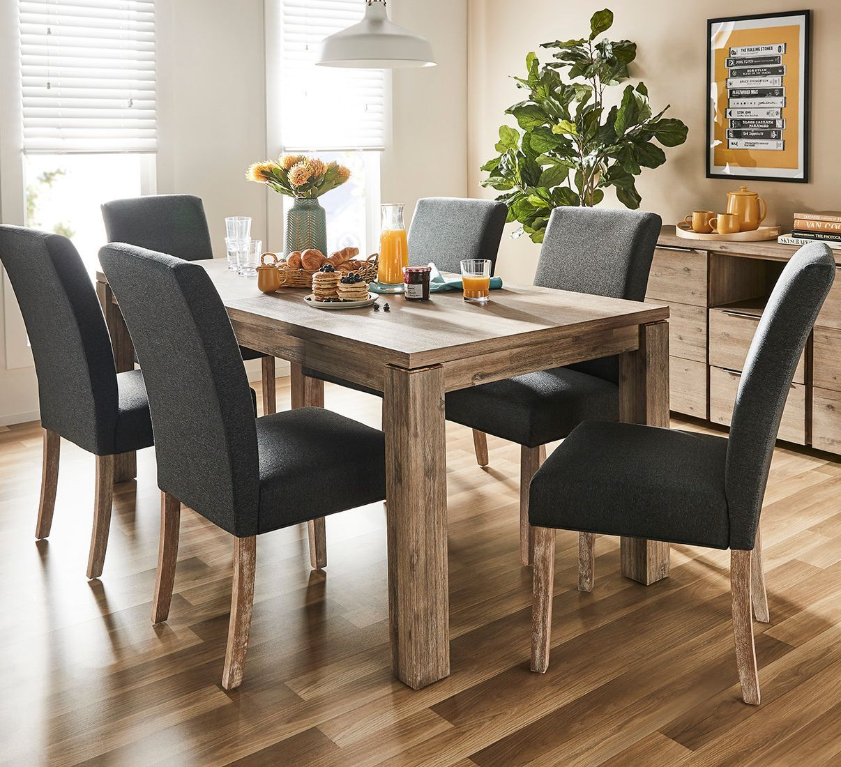Wood look Dining Table Set with Upholstered Chairs   Dining ...
