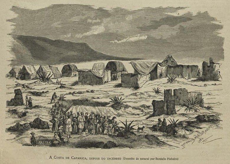 Costa da Caparica, Depois do incendio de 1884, desenho de Rafael Bordalo Pinheiro Imagem: Hemeroteca Digital