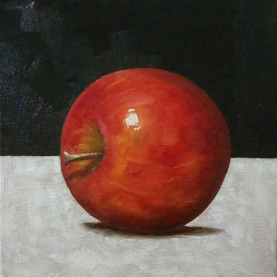 Apple Oil Painting Kitchen Art Fruit Painting 6x6 Canvas