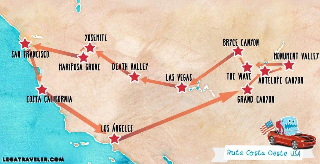 Mapa Eeuu Costa Oeste.Mapa Ruta Costa Oeste Estados Unidos En 2019 Costa Oeste