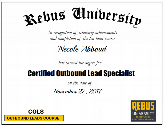 Congratulations To Necole Abboud For Completing Certified Outbound