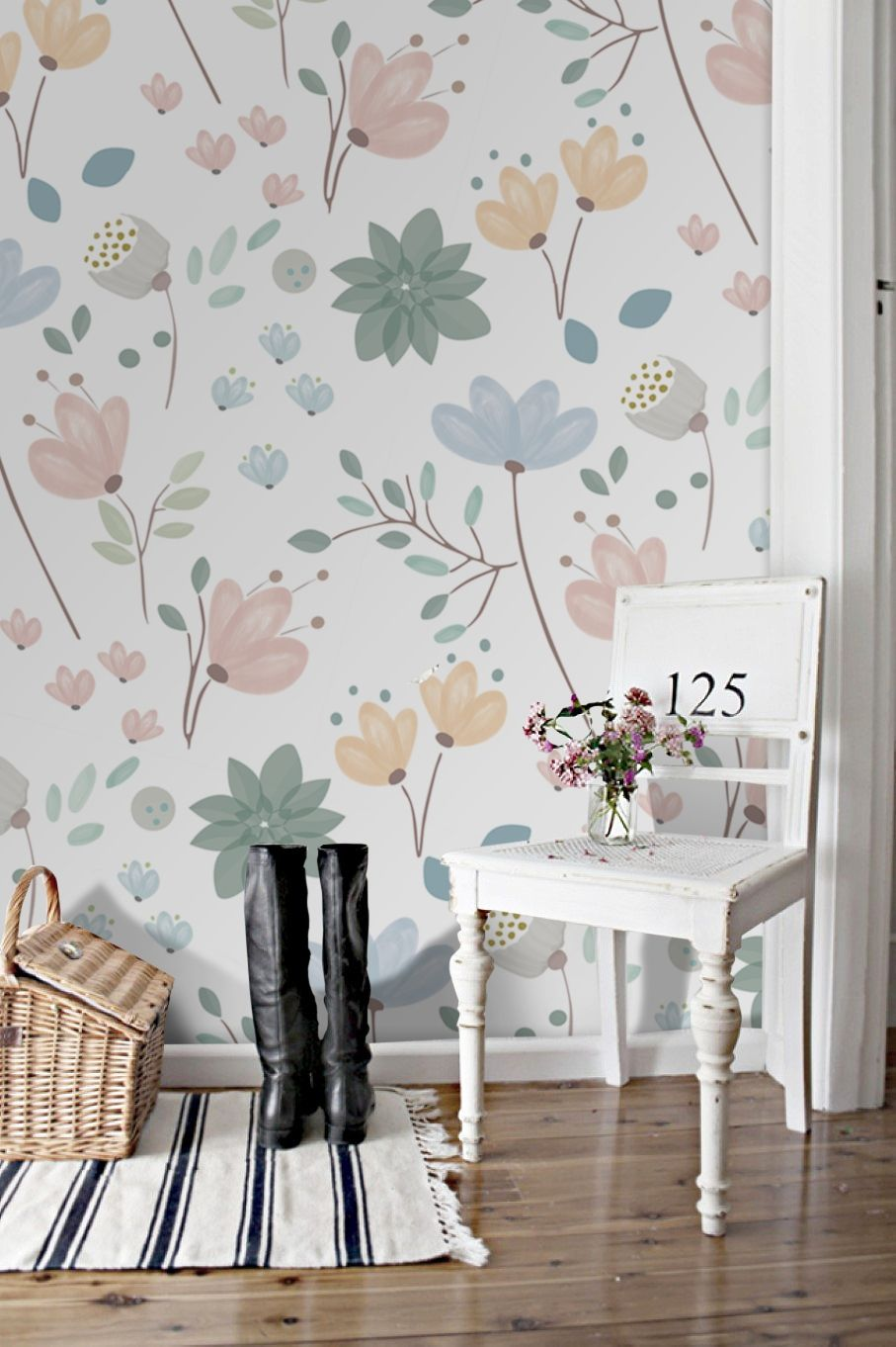 37 Spring Floral Removable Wallpaper Ideas For Home Decor Decorhit Com Interior Paint Colors For Living Room Floral Wallpaper Home Decor