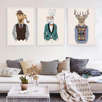 Moda Animais Girafa Zebra Cavalo A4 Cópias Da Arte do Cartaz Do Vintage Hippie do Retrato Da Parede Pintura em Tela Sem Moldura Home Office Decor