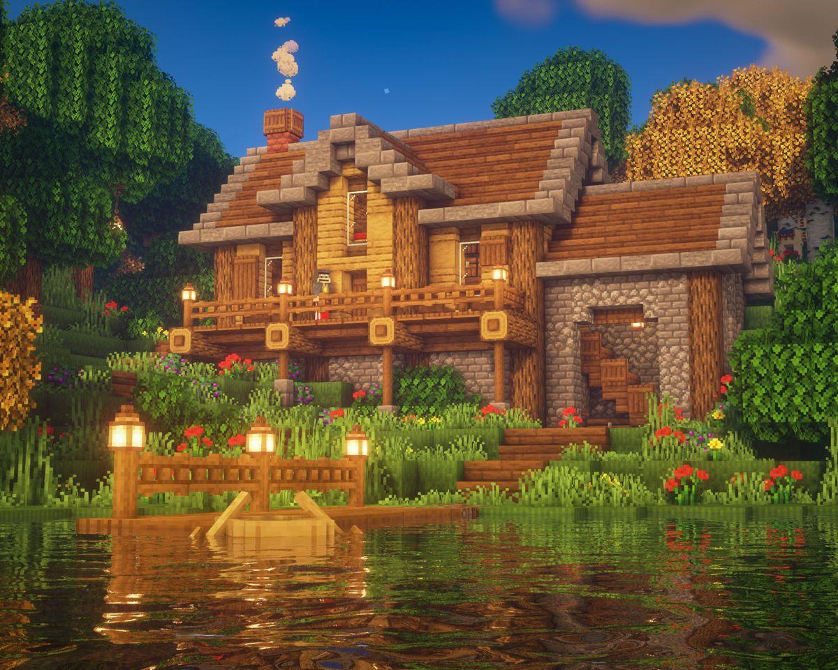 Minecraft Lake House | Amazing minecraft, Minecraft ...