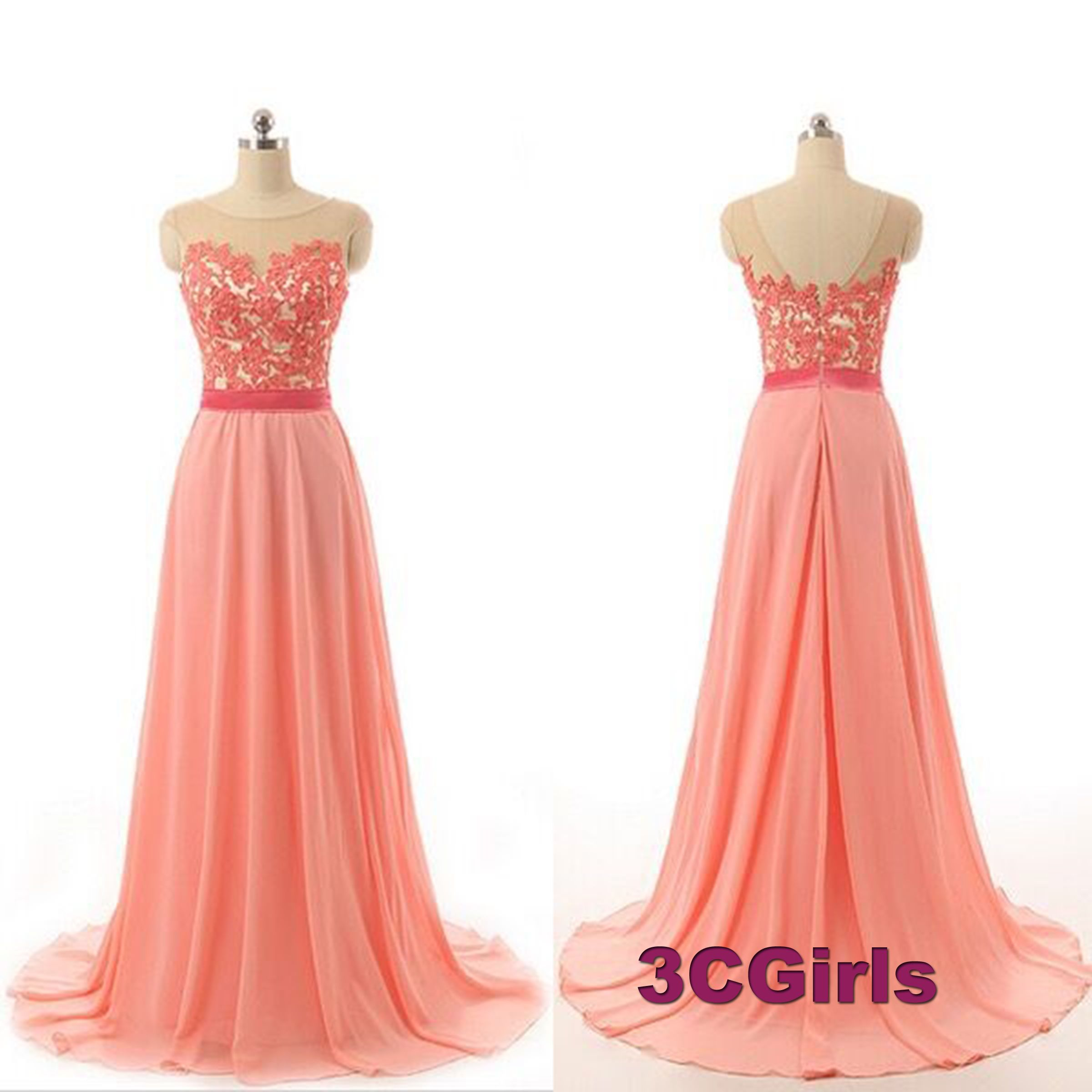 Beautiful peach lace chiffon floor length prom dress for teens ...