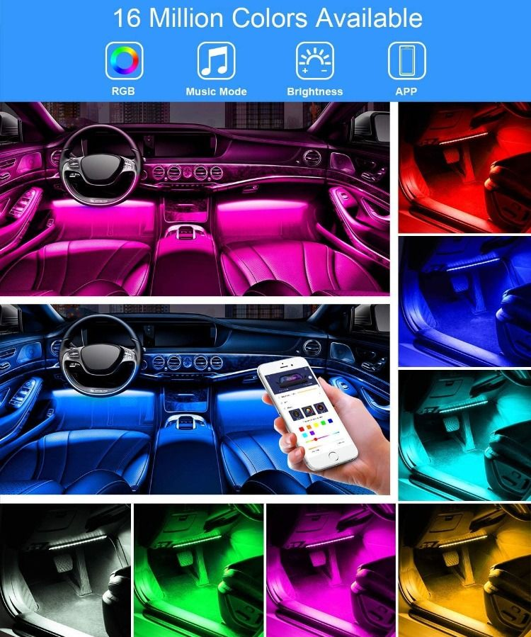 Interior Car Lights Govee Car Led Strip Light Upgrade Two Line Design Waterproof 4pcs 48 Led Car Led Lights Car Lights Cool Car Gadgets