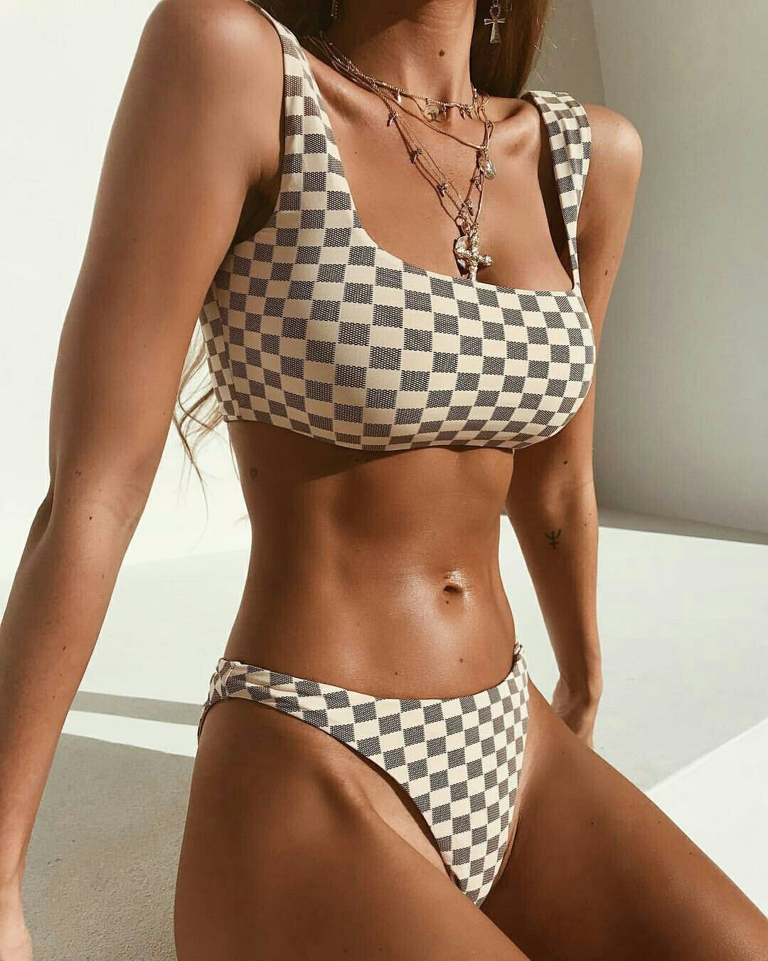 8894f5d80db ... swimsuits thong by Tinkerbell Cosmetic Shop. Unhealthy and unrealistic  for the average woman. Cute checkerboard bikini.