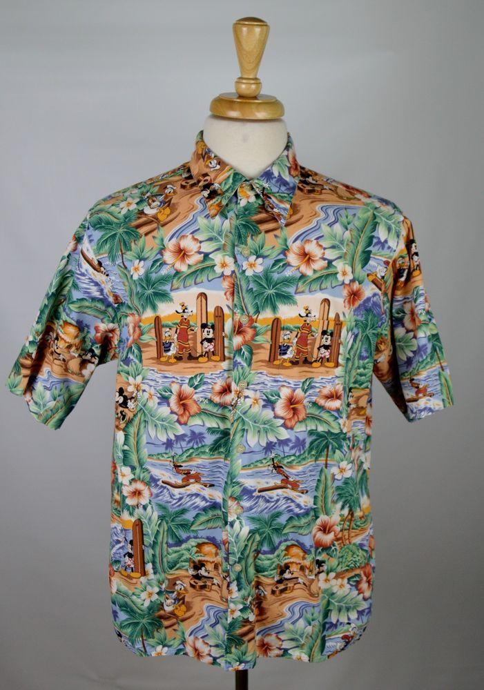 Reyn Spooner Disney Mickey Mouse Donald Duck Mens Large Floral SS Hawaiian Shirt…