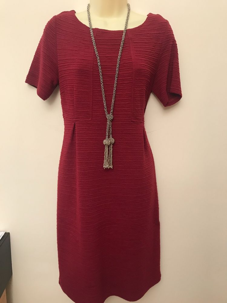 7341f635687f White Stuff Burgundy Knee Length Textured Dress Size UK 10  fashion   clothing  shoes  accessories  womensclothing  dresses  ad (ebay link)