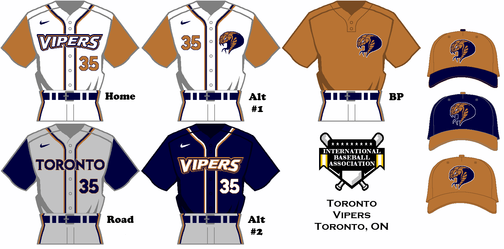 Uniform Set Concept For The Toronto Vipers Of The Fictional International Baseball Association Concept Uniform Baseball