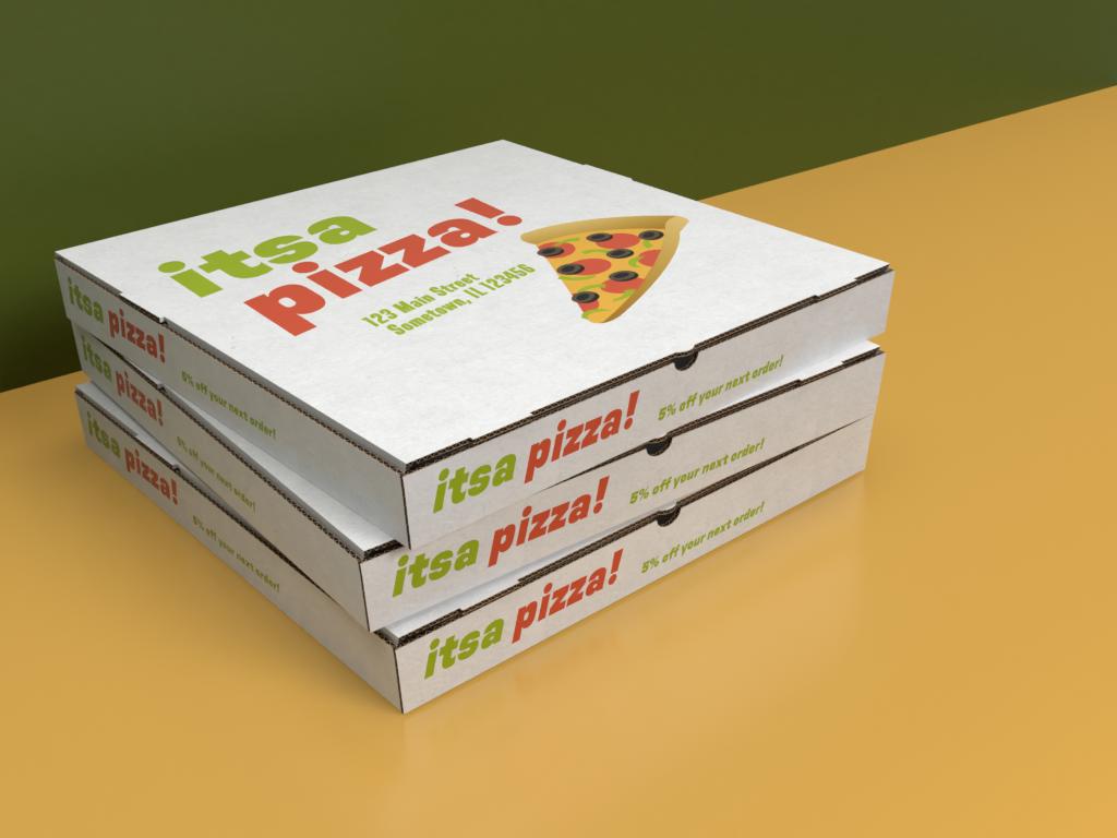 Adobe Dimensions Pizza Box Mock Up Template Full Pizza Box Design Box Design Templates Pizza Boxes