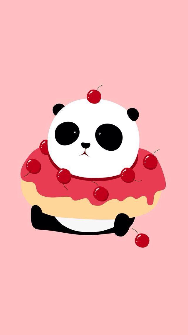 Panda Donut Cute Panda Wallpaper Panda Wallpaper Iphone Cute