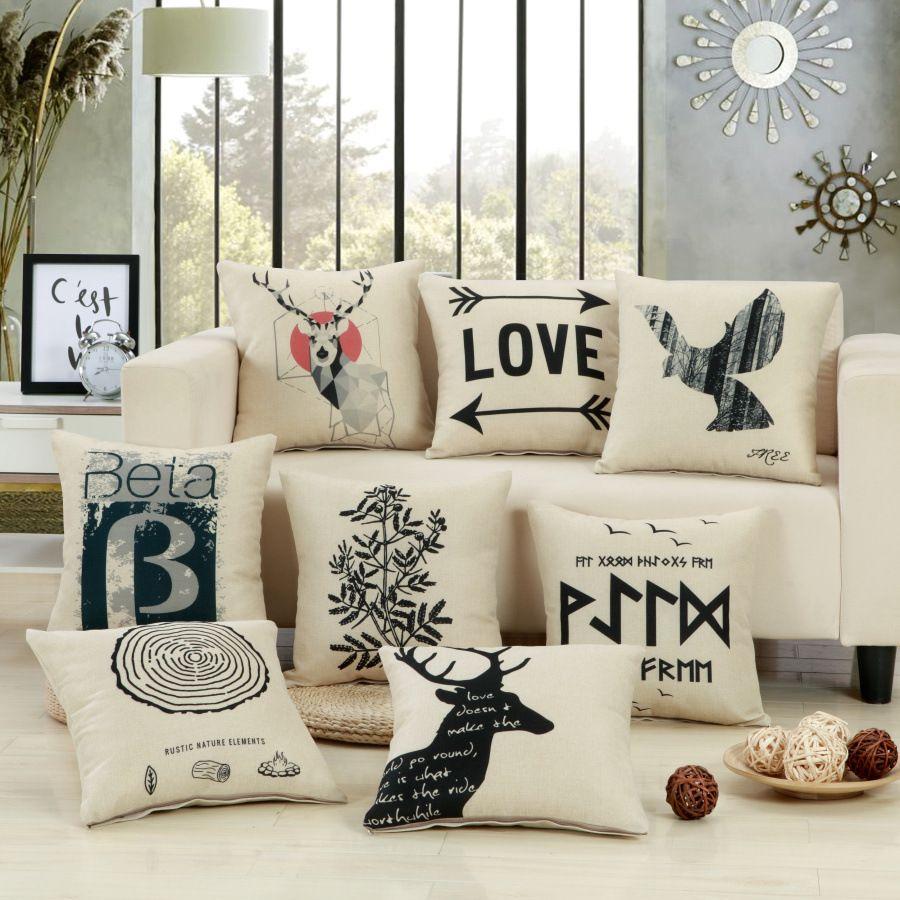 Geometric Deer Christmas Plain Cushion Covers Nordic Style ...