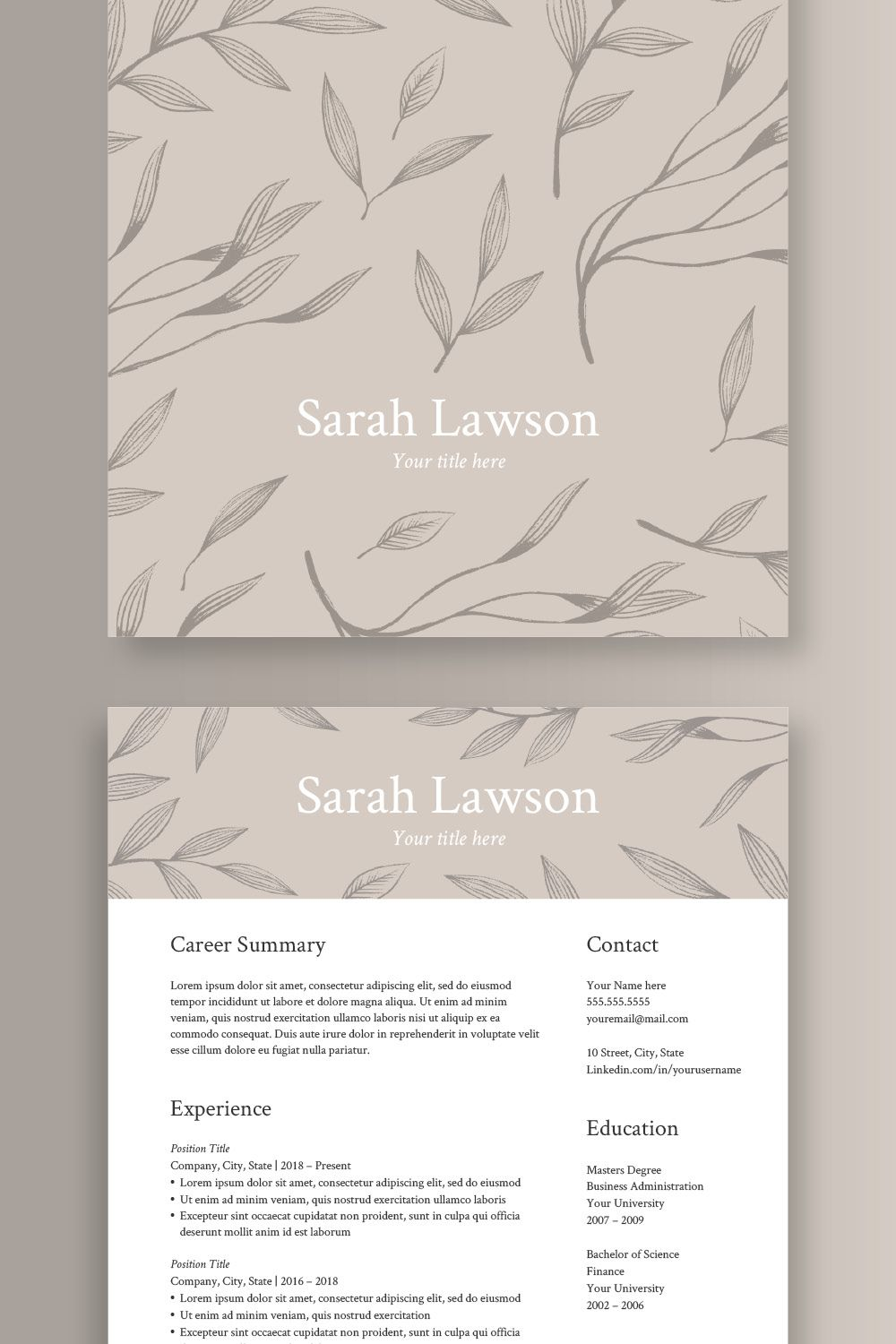 Natural Resume Template For Word And Open Office Cv Template Etsy Lebenslauf Vorlagen Word