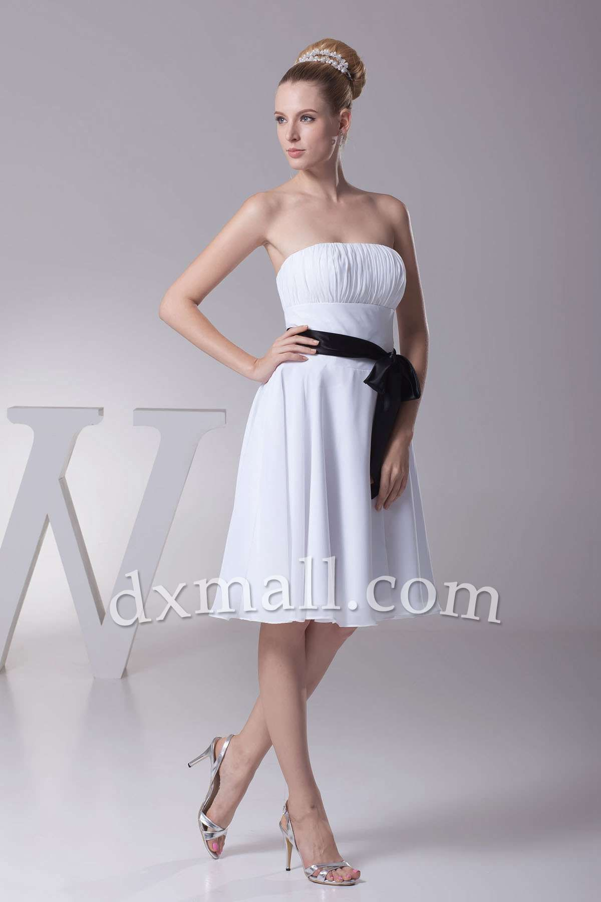 Empire winter formal dresses strapless shortmini chiffon satin