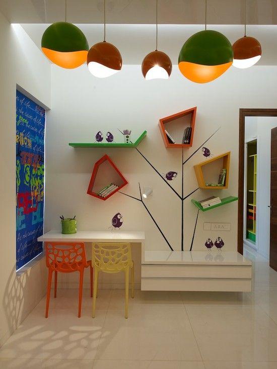 Gestaltungsideen Für Kinderzimmer Schulkinder Tisch Hochglanz Bunte