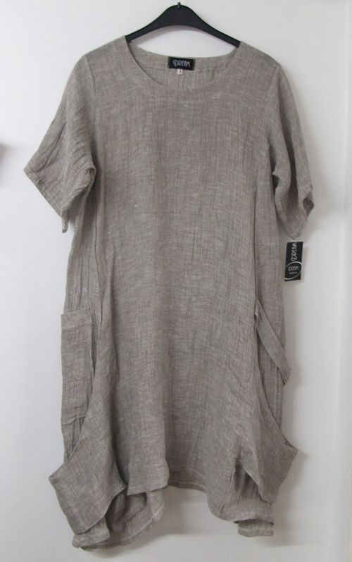 a99323610b4 Summer+lagenlook | Lagenlook Crushed Linen Tunic Dress Natural Beige ...