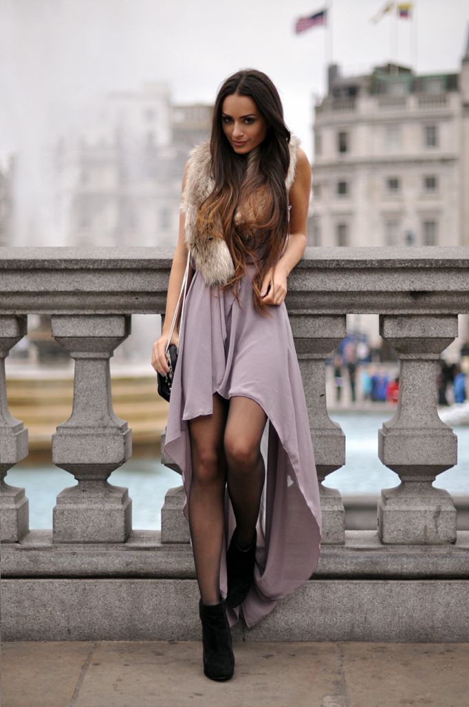 high low dress with booties