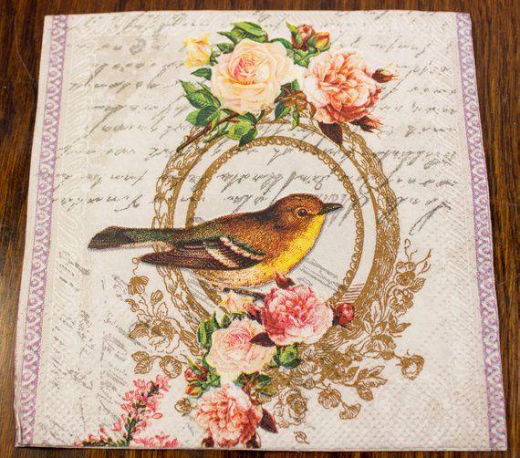 33 x 33cm 4 Individual Napkins for Craft /& Napkin Art. 4 Paper Napkins for Decoupage 3-ply Peacock Garden Light Rose