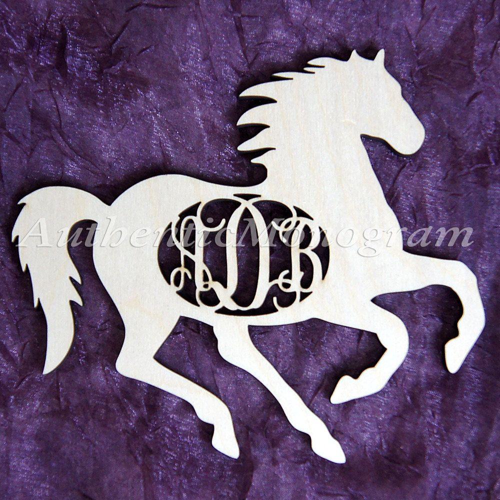 Wooden Horse Silhouette 3 Letter Unpainted Monogram For Home Decor