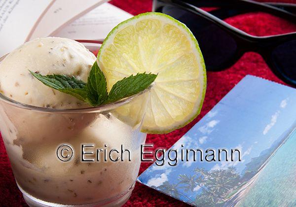 Mojito-Sahne-Eis ohne Alkohol und Ei = Limetten - Minz  Eis