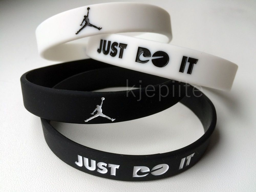 Nike Just Do It Jordan Sport Baller Wristband Bracelet Black White Silicone