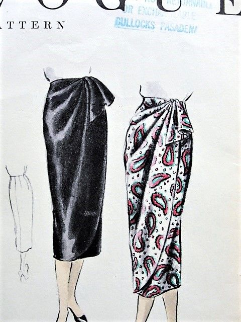 1950s CLASSY Sarong Wrap Skirt VOGUE 8303 Draped Front Wrapped Skirt ...