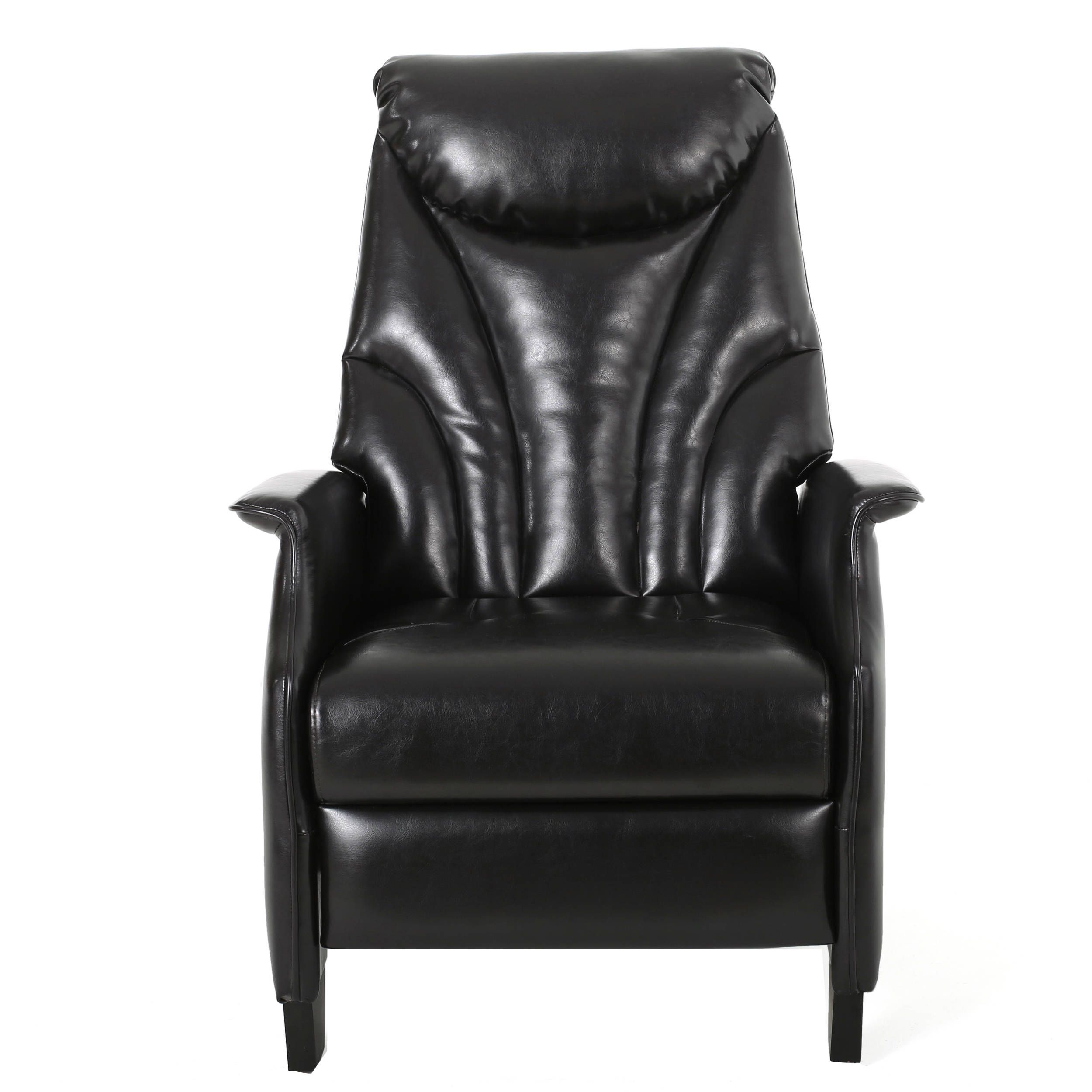 Alastair Stitched Bonded Leather Recliner Club Chair By Christopher Knight  Home (Brown), Size Standard