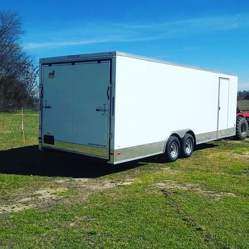 Powder coat finish enclosed carhauler trailer in 2020