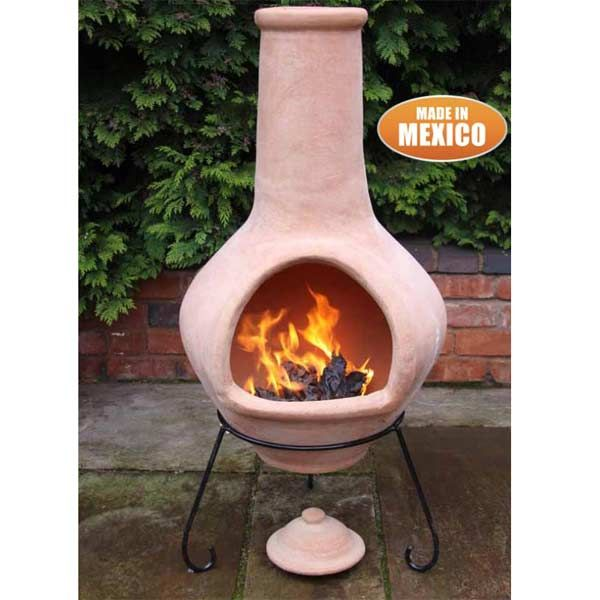 Gardeco Tibor Clay Chiminea Natural Terracotta 134cm On