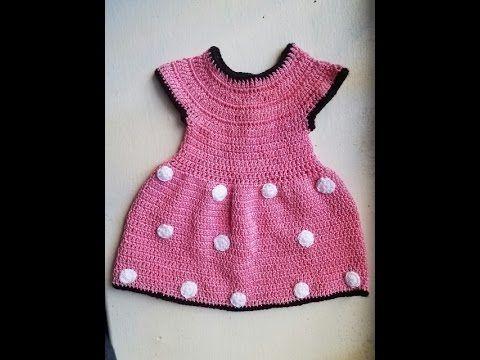 Vestido a crochet de Minnie mouse - YouTube   Vestidos crochet ...