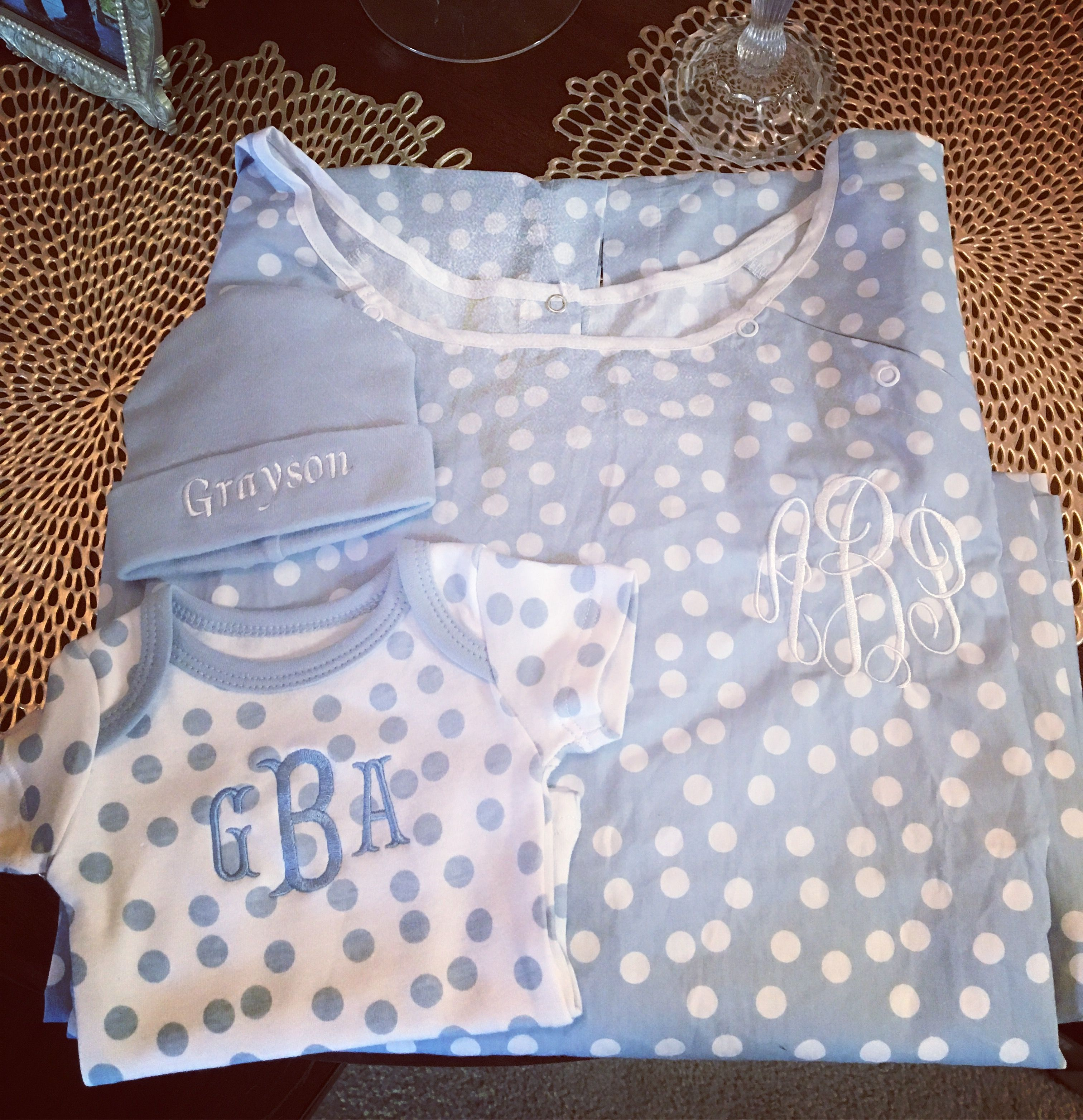 Matching hospital gown and baby onesie and hat! Monogram and polka ...