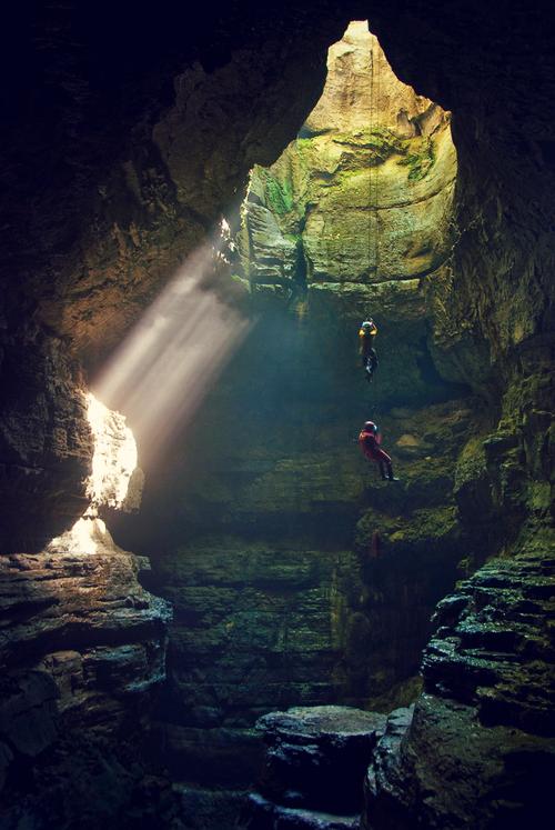 Descending into Stephens Gap Cave in northern Alabama, USA