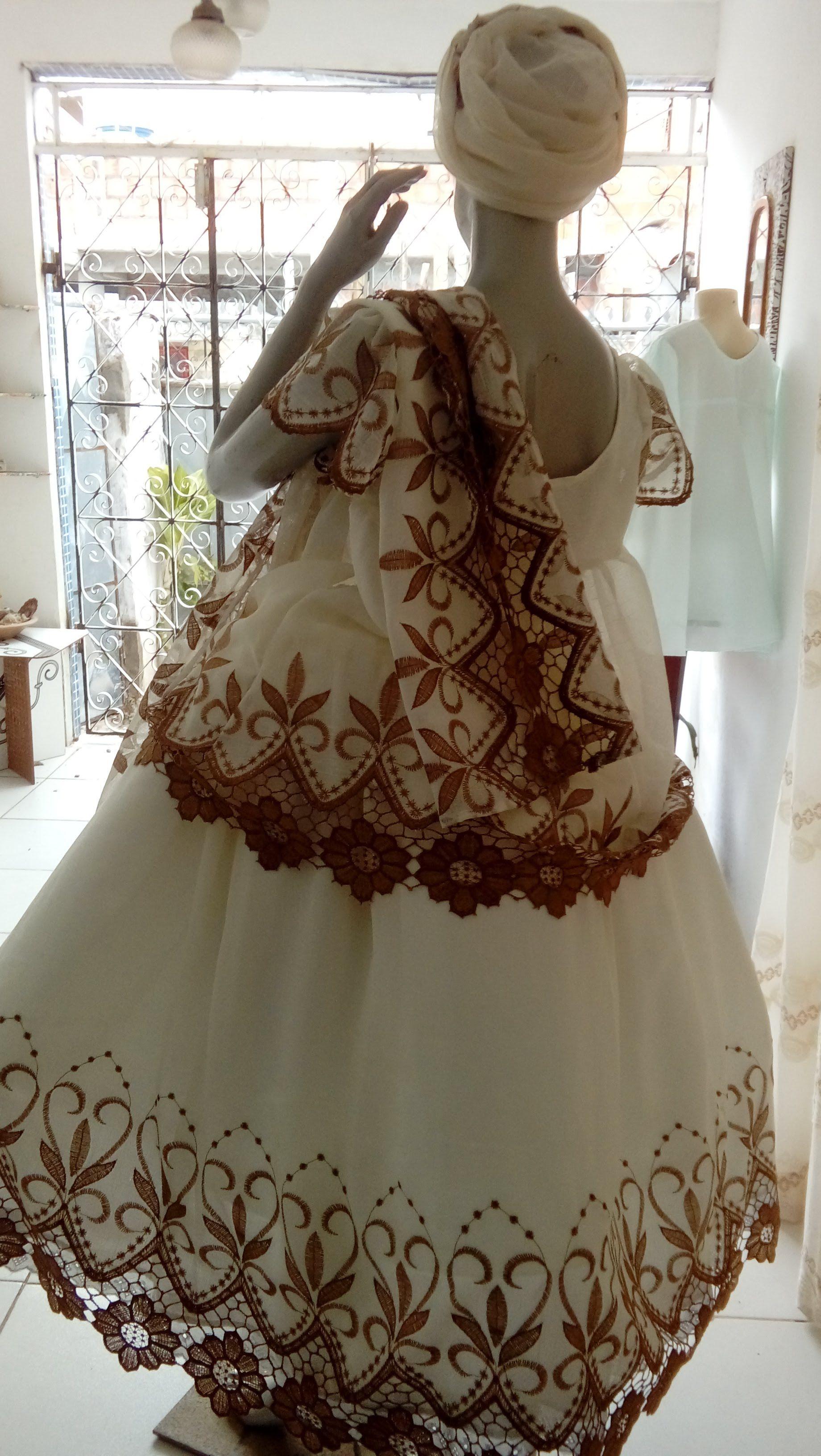 150a3802b Conjunto Xirê em voil bordado para festa Oxum com 4