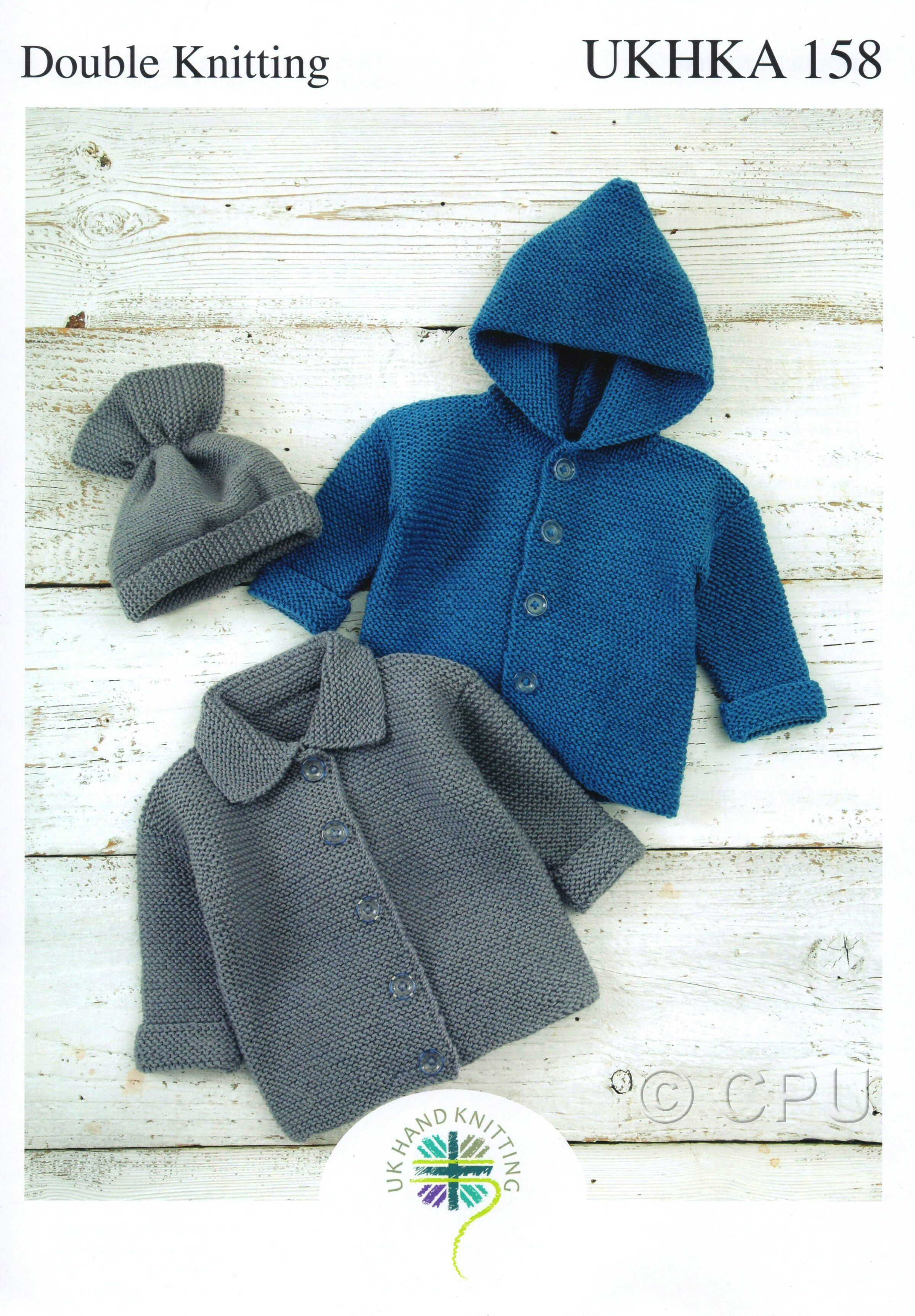 ab5a68eff UK Hand Knitting Association Pattern Leaflet UKHKA158 £2.30 Double Knit  Knitted Jackets and Hat Chest 35cm to 50cm - Age Birth to 12 months