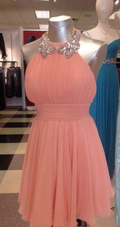 pink short princess bridal halter dress