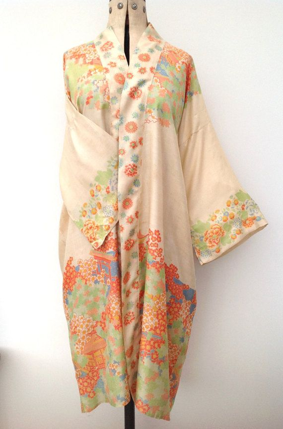 antique vintage japonais des ann es 1920 kimono en soie robe de chambre les ann es japonais. Black Bedroom Furniture Sets. Home Design Ideas