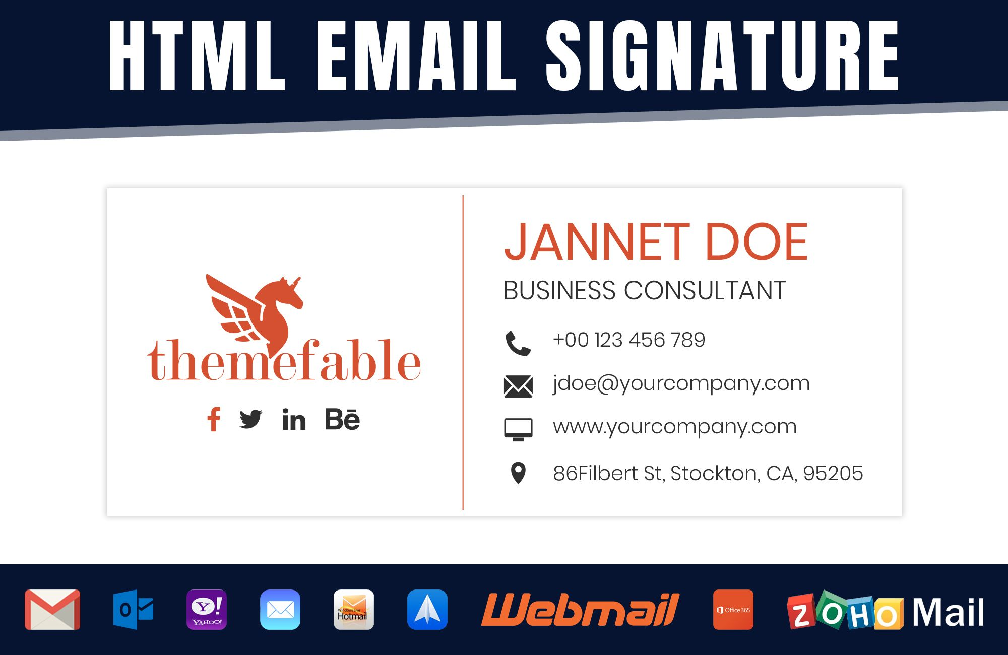 Design clickable html email signature with logo in 2020